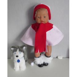 poncho roze met rood baby...
