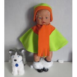 poncho groen met oranje...