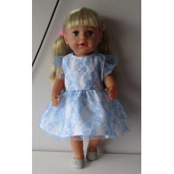 jurk kant blauw baby born 43cm