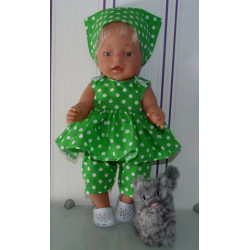 lente setje groen met polka...