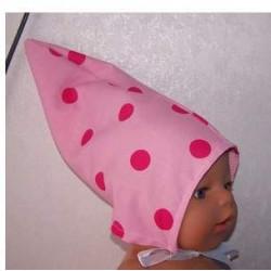 puntmuts roze met polka...