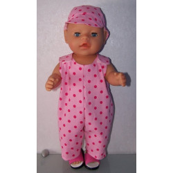overal roze polka dots baby...