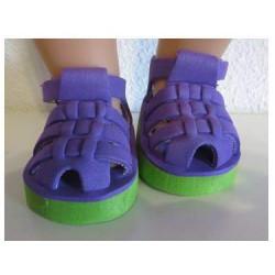 sandalen paars met groen...