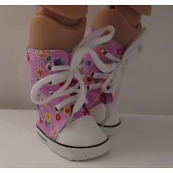 sneakers hoog roze gebloemd...