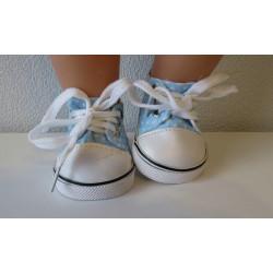 sneakers licht blauw met...
