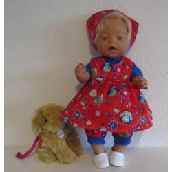 baby doll setje rood uilen...