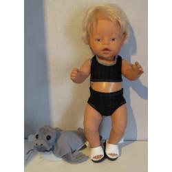 bikini zwart geblokt baby...