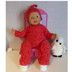 fleecepak rood babypop 36/38cm