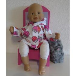 jas met roze uilen babypop...