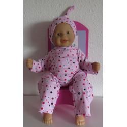 pyjama roze stippen babypop...