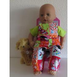 tuinbroek geblokt babypop...