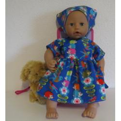 jurk blauw egel babypop...