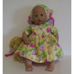 jurk geel babypop 46/48cm