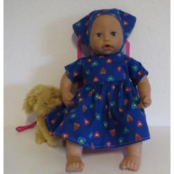 jurk blauw hartjes babypop...