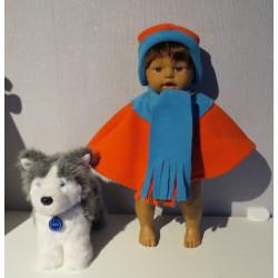 poncho oranje met blauw...