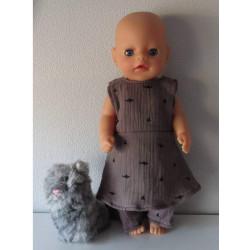 jurk donker grijs baby born...
