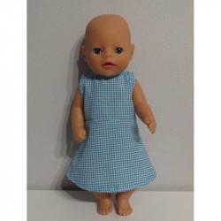 jurk blauw geruit baby born...