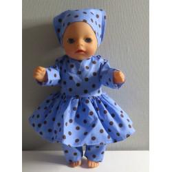 hippejurk blauw polka dots...