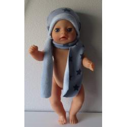muts met sjaal blauw...