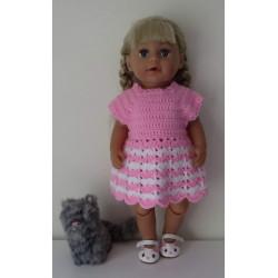 gehaakte jurk roze met wit...