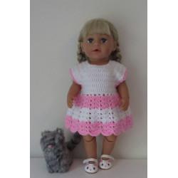 gehaakte jurk wit met roze...