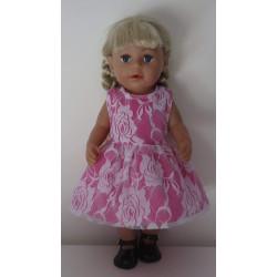 jurk hard roze met kant...